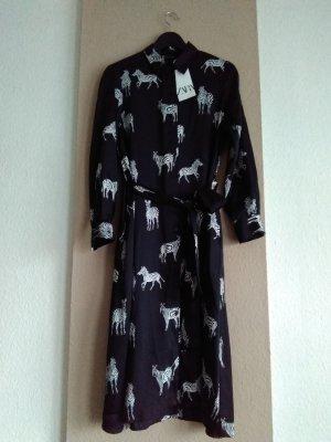 hübsches Hemdblusenkleid in schwarz-weiss mit Zebraprint, Größe M, neu