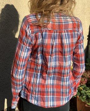 Hübsches kariertes langärmeliges Hemd mit Blumenmuster Größe S