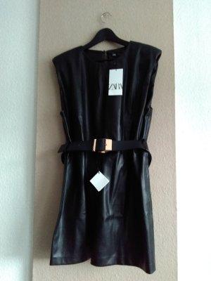 hübsches Kuntsleder Minikleid in schwarz, Grösse L, neu