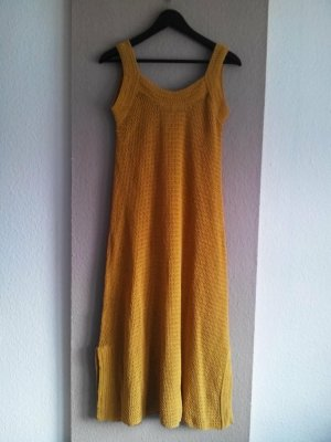 hübsches Midi-Häkelkleid in senfgelb aus 85% Baumwolle, Limited Edition, Größe M