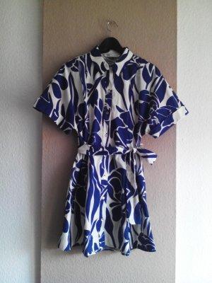 hübsches Mini-Hemdblusenkleid in blau-weiss, Grösse M, neu