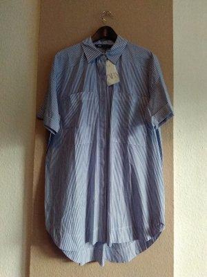 Zara Abito blusa camicia bianco-blu scuro Cotone
