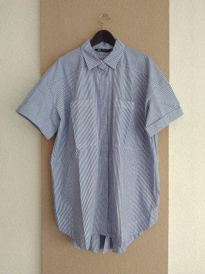 Zara Robe chemise blanc-bleu foncé coton