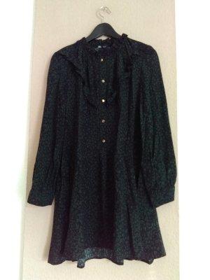 Zara Longsleeve Dress dark green-black viscose