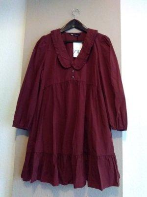 hübsches Minikleid in burgunderrot aus 100% Baumwolle, Grösse M, neu