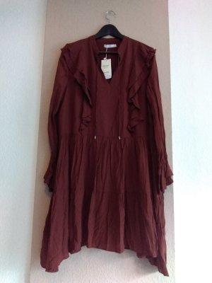 hübsches Minikleid mit Volants in dunkelbraun, Größe L, neu