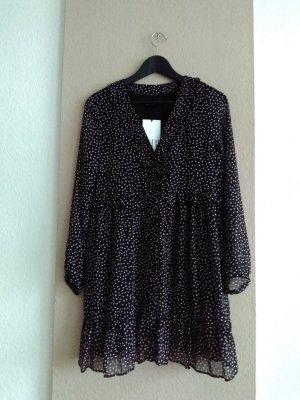 hübsches Minikleid mit Volants in schwarz-creme gepunktet, Grösse L, neu