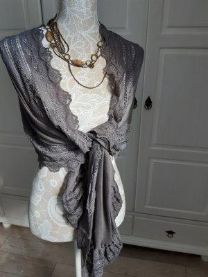 Rosemunde Châle au tricot gris clair tissu mixte
