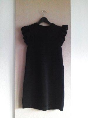 hübsches Strick-Minikleid in schwarz mit Volantärmeln, Grösse M, neu