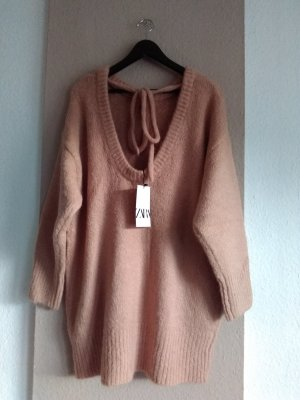 hübsches Strickkleid/Long Pullover in beige-rosa, Grösse M oversize, neu