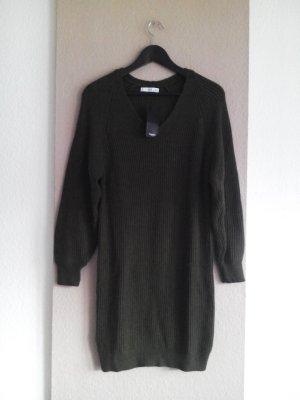 Mango Knitted Dress khaki viscose