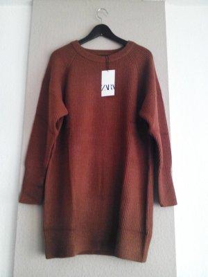 hübsches Strickkleid/Long Pullover in Ziegelrot, Grösse M oversize, neu