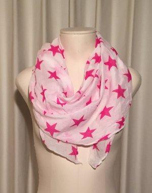 Foulard rose-blanc coton