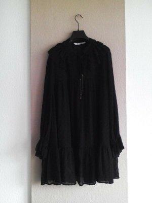 hübsches weit geschnittenes Plumetis Minikleid in schwarz, Grösse S, neu