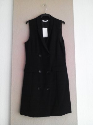 Zara Vestido cruzado negro Poliéster
