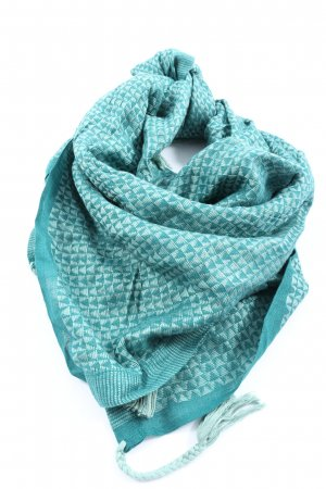 Hüftgold Fringed Scarf turquoise-light grey abstract pattern elegant