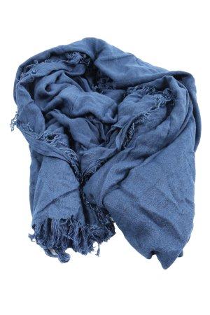 Hüftgold Bufanda de flecos azul Patrón de tejido look casual