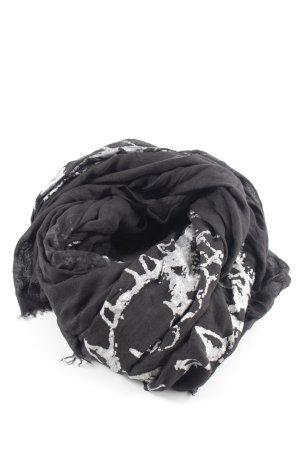 Hüftgold Foulard noir-argenté motif abstrait style décontracté