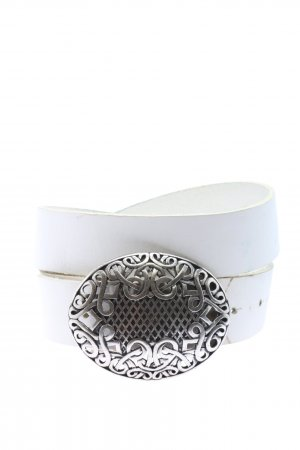 Hüftgold Leather Belt white-silver-colored casual look