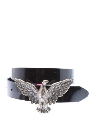 Hüftgold Cinturón de cuero negro-color plata look efecto mojado