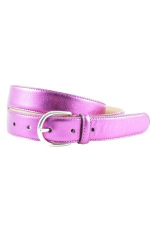 Hüftgold Ledergürtel pink Metallic-Optik