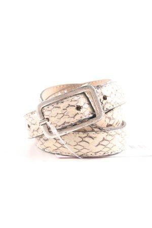 Hüftgold Cinturón de cuero de imitación crema-marrón estampado de animales
