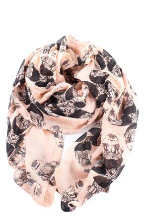 Hüftgold Écharpe d'été rose-noir imprimé allover style décontracté
