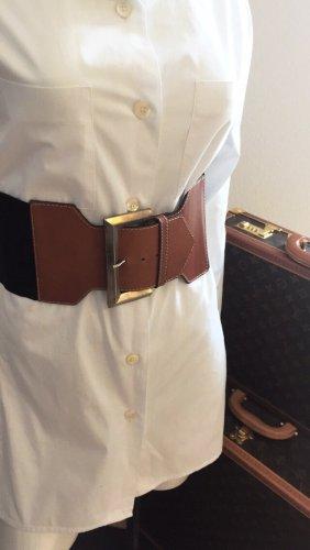 Cintura di pelle cognac-nero