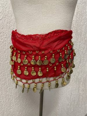 Cinturón de cadera rojo-color oro