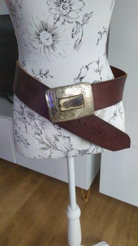 Cinturón de cadera marrón oscuro-color plata