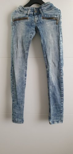 Fishbone Jeans vita bassa blu fiordaliso