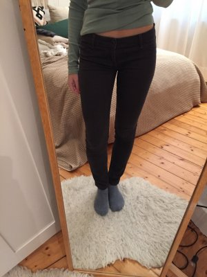 Abercrombie & Fitch Lage taille broek donkergrijs-antraciet