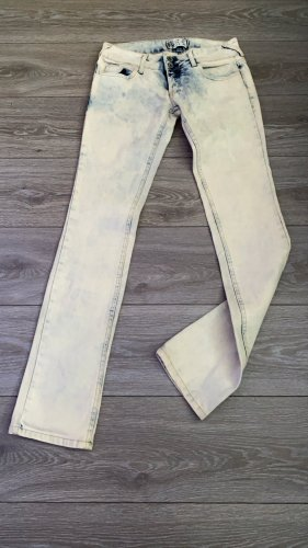 Low Rise jeans wit-donkerblauw Denim