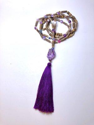 Collier violet foncé-marron clair