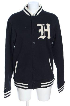 HUF Collegejacke schwarz-wollweiß Motivdruck Casual-Look