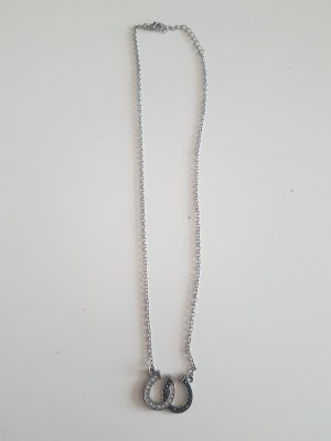 handmade Necklace black-silver-colored