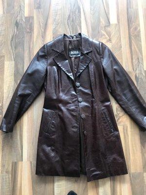 Hugo Boss Manteau en cuir brun rouge cuir
