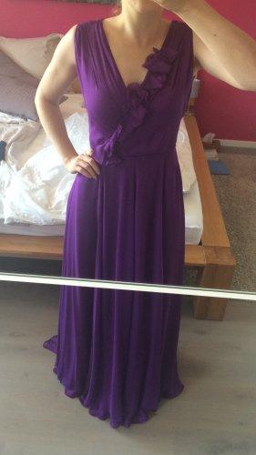 HUGO BOSS Abendkleid lila A-Linie mit leichter Schleppe elegant