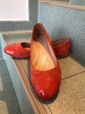 Hugo Boss Patent Leather Ballerinas bright red-salmon