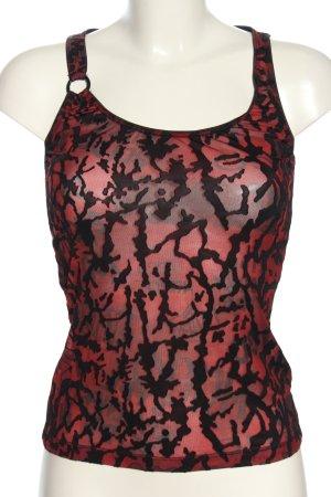 Hugo Boss Basic Top rot-schwarz abstraktes Muster Elegant