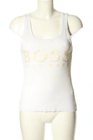 Hugo Boss Basic Top weiß-goldfarben Schriftzug gedruckt Casual-Look