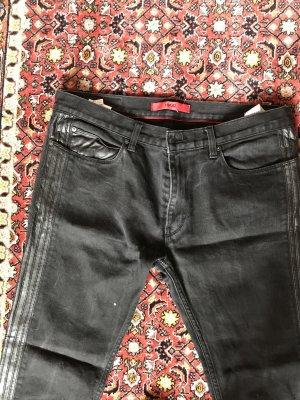 Hugo Boss Biker Jeans black leather