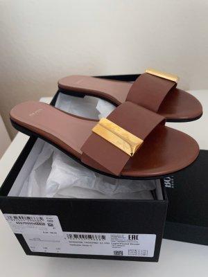 HUGO Hugo Boss Heel Pantolettes light brown leather