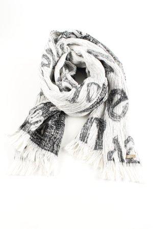 Hugo Boss Sjaal met franjes wit-zwart gedrukte letters casual uitstraling