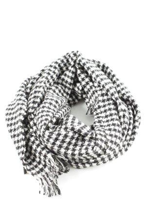 Hugo Boss Sjaal met franjes zwart-wit volledige print zakelijke stijl