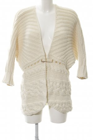 Hugo Boss Coarse Knitted Jacket cream cable stitch casual look