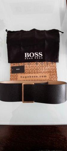 Hugo Boss Cinturón de cuero negro-color oro
