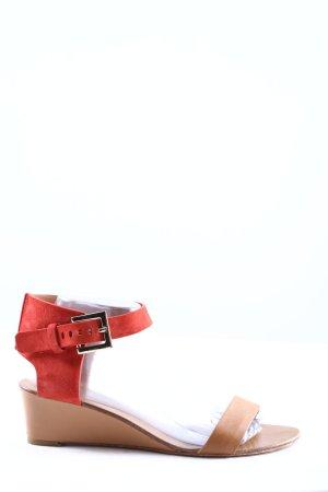HUGO BOSS Keil-Sandaletten rot-beige