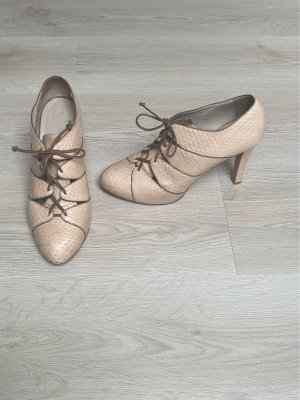 Hugo Boss Lace-up Booties cream-black brown leather