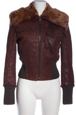 Hugo Boss Veste en cuir rouge-brun style décontracté